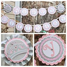 "Girl Pink and Silver Little Princess 1st / First Birthday ""Happy Birthday"" banner.  Any Age.  Custom and Fully Assembled. by CharmingTouchParties on Etsy"