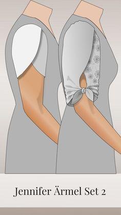 Jennifer Schnitterweiterung - Ärmel Set 2 - Source by reusseinbeck Kurti Sleeves Design, Sleeves Designs For Dresses, Sleeve Designs, Blouse Designs, Techniques Couture, Sewing Techniques, Dress Sewing Patterns, Clothing Patterns, Sewing Clothes