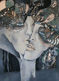 MAESTRO&MAGGIE  70x100 cm acrylic , ink, silver on canvas