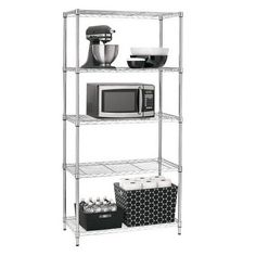 Adjustable 5-Tier Wire Shelving Unit - Chrome - Room Essentials™ : Target.  Just got this tonight.  I like it.  Although it was slightly bent when I assembled it.