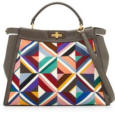 Fendi Large Quilted Geometric Peekaboo Satchel Bag (€5.160) ❤ liked on  Polyvore featuring d7ebc5ec47