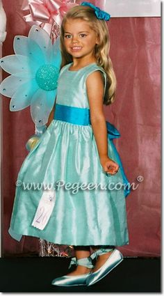 Tiffany and turquoise blue flower girl dress - Pegeen Classic Style 345 in over 200 colors from infant through plus sizes