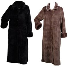 Slenderella Button Up Ribbed Style Dressing Gown with Faux Fur Collar - Mill Outlets