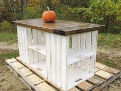 Recycled pallets and door. Looks great, and pretty easy. Great for an outdoor bar