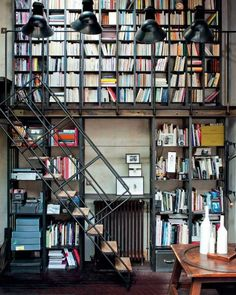 myidealhome: industrial-inspired home library on more levels (via Marie Claire Maison) Library Bookshelves, Bookcases, Unique Bookshelves, Bookcase Wall, Bibliotheque Design, Dream Library, Future Library, Book Storage, Book Shelves
