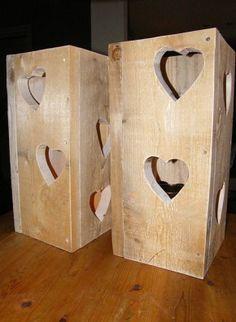 Windlichten van steigerhout...handmade Miran