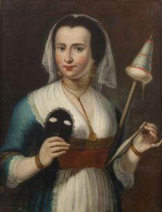PITTORE DEL XVIII SECOLO Ritratto di donna con maschera