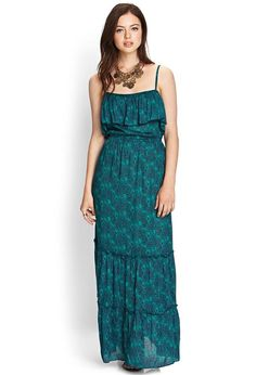 Love 21 - A woven maxi dress featuring a bohemian print and tiered skirt. Ruffled flounce layer a...
