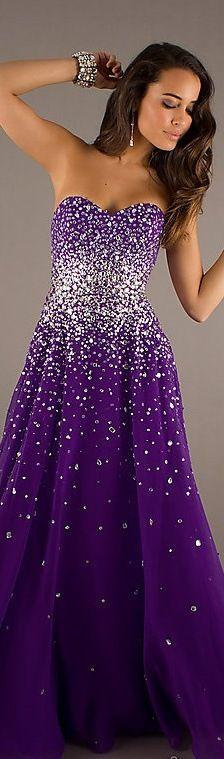 Fashion long dress #strapless #purple #glitter