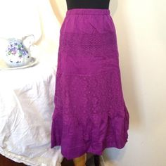 """Beautiful purple boho chic skirt!  NWOT Skort has lovely lace panels and is fully lined.  Skit is 25"""" long.  Waist is approximately 33"""" around laying flat and is a pull-on elastic style. Isaac Mizrahi Skirts"""