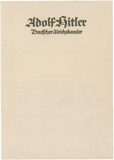 Adolf Hitler Letterhead, 1938 Modern Typography, Typography Design, Lettering, Berlin Olympics, Letters Of Note, Letterhead Design, The Third Reich, Proud Of Me, Personalized Stationery