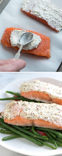 Moist and tender baked salmon in less than 30 minutes. We spread a mixture of sour cream, whole ground mustard and parmesan cheese on top of salmon. Then, we slide them into the oven for about 15 minutes. Easy and the sour cream crust is so good Salmon Dishes, Fish Dishes, Seafood Dishes, Seafood Recipes, Dinner Recipes, Cooking Recipes, Healthy Recipes, Keto Recipes, Fruit Dishes