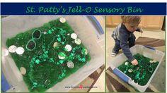 St. Patty's Jell-O Sensory Bin