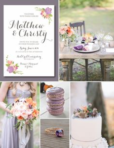 Rustic Peach and Plum Wedding Inspiraion, Wedding Invitation Stationery by Itsy Belle