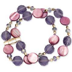 Jones New York Gold-Tone Purple Mixed Bead Two-Row Stretch Bracelet ($32) ❤ liked on Polyvore featuring jewelry, bracelets, purple, stretch bracelet, bracelet bangle, purple bracelet, gold tone jewelry and gold tone bracelet