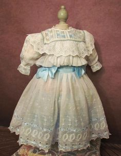 """Antique Cotton Dress, Straw Bonnet for 24-25"""" German doll or French Bebe  (59cm)"""