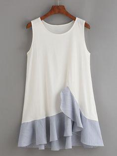 White Ruffled Striped Hem Tank Dress