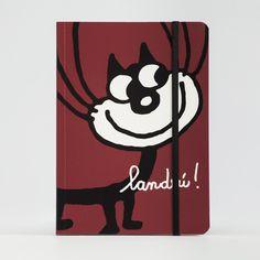 Cuaderno Landrú con gato fondo rojo. Diseño de tapa con el simpático gato de Landrú. Un regalo original y divertido. — Tienda online Landrú