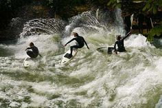 A few weeks ago we watched the surfers on the river in Munich city centre.
