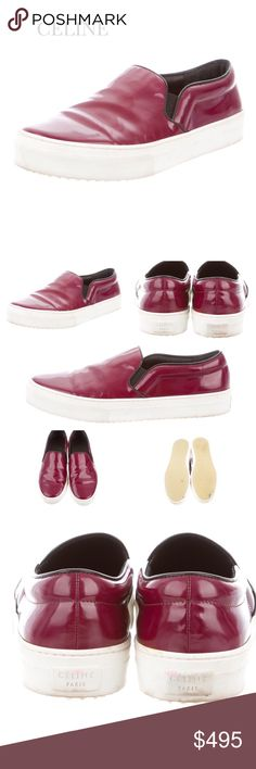 """CÉLINE MAROON LEATHER SNEAKERS Phoebe Philo Collection maroon patent leather Céline slip-on sneakers with tonal stitching, elasticized panels at sides and rubber soles. Color: Maroon/Wine. Condition. Faint wear at soles; minor wear at uppers. Size 8 IT 38 Measurements: Heels 0.5"""" CÉLINE Shoes"""