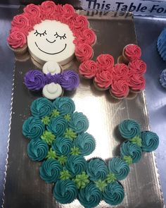 Mermaid cupcake cake Mermaid Cupcake Cake, Little Mermaid Cupcakes, Mermaid Birthday Cakes, Little Mermaid Birthday, Little Mermaid Parties, Mermaid Cakes, Girl Birthday, Cupcake Cakes, Birthday Parties