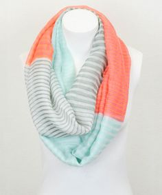 Love this Leto Collection Aqua & Orange Stripe Color Block Infinity Scarf by Leto Collection on #zulily! #zulilyfinds