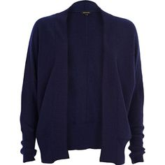 River Island Navy unfastened dolman cardigan ($17) ❤ liked on Polyvore featuring tops, cardigans, jackets, outerwear, sweaters, sale, dolman sleeve tops, faux leather sleeve top, cardigan top and faux leather top