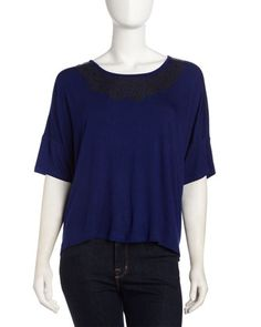 Leather-Stud Scoop-Neck Top, Blue Lapis by Design History at Last Call by Neiman Marcus.