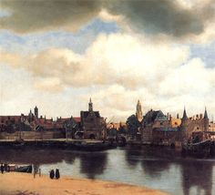 "Johann Vermeer.  View of Delft, Netherlands, After the Fire, ca. 1658.  Oil on canvas, approximately 39"" by 46"".  Royal Picture Gallery Maur..."