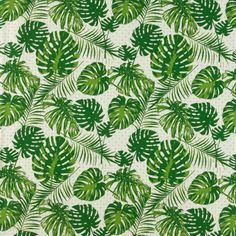 Woven Cotton green graphic w big leaves for home DIY projects!