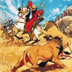 """La Pintura y la Guerra King Darius of Persia hunting lions""""  Angus McBride"""