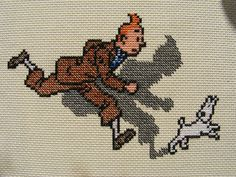 Tintin WIP by mabith, via Flickr • Tintin embroidery • photo 2011 • Tintin, Herge j'aime