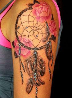 tatuagem filtro de sonho com rosas braço