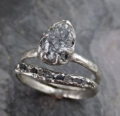 Rough Raw Black Diamond Engagement Ring Raw 14k by byAngeline on Etsy