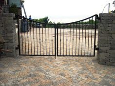 Scalloped Double Drive Wrought Iron Gate