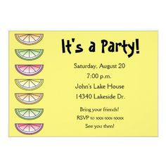 Lemon Yellow, Lime Green, Pink and Orange Citrus Summer Party Picnic Birthday Invitations. www.gem-ann.com (Zazzle store)