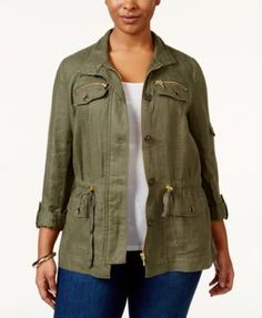 INC International Concepts Plus Size Five-Pocket Anorak Jacket, Only at Macy's