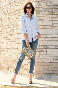 What I Wore, Jessica Quirk, Outfit Blog, Style Blog, Fashion Blog, Personal Style Blog, Chambray, Denim, Denim on Denim, Leopard Pumps, Sequin Clutch, Simple Style