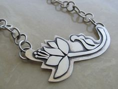 Artisan FLOWER necklace - hand fabricated, one of a kind, hand cut in sterling silver by JoDeneMoneuseJewelry, $135.00