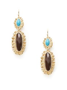 Turquoise & Brown Double Drop Earrings by Cara Couture Jewelry on Gilt
