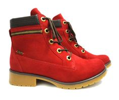 coturnos femininos dakota vermelho com ziper