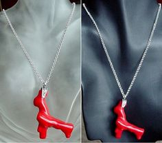 Red Coral Pendant c/w Sterling Silver Bail and by camexinc on Etsy, $49.00
