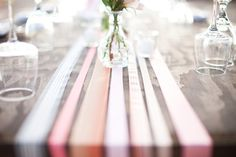 "Make a Ribbon Table Runner Add instant style to your table with a runner made from ribbon. Just choose the widths and colors of ribbon you love, run them the length of your table allowing it to drape over about 6"" on either end. Then just trim all the ends and you're done!"
