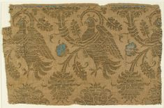 Textile Date: century Geography: Made in Lucca, Italy Culture: Italian Medium: Silk, metal thread Dimensions: Overall: 8 × 13 in. × cm) Storage: 13 × 17 in. Textile Patterns, Textile Design, Textile Art, History Of Textile, Italy Culture, Medieval, Lucca Italy, Century Textiles, Art Nouveau