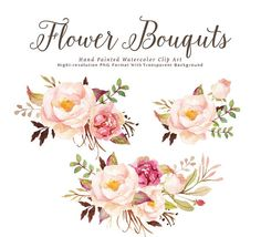 Watercolor floral Clip Art-Romantic Blooms Graphic Elements :::::::What do you get?::::::: 3 Finished Watercolour Floral Arrangements 23 Individual elements Size: 450~3500px Format: PNG (transparent background) Resolution:300DPI :::::::Instant Download::::::: When you make a purchase