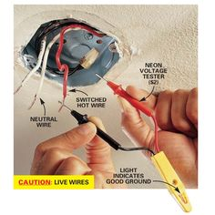 Change a drab room into a dazzling one with a new overhead light fixture. Here's how to mount that new fixture correctly. Home Electrical Wiring, Electrical Code, Electrical Projects, Electrical Supplies, Installing Light Fixture, Electrical Outlet Covers, Neutral, Diy Light Fixtures, Home Fix