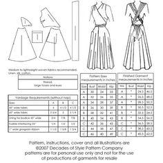 Schnittmuster: 4003 - 1948 Siren Sundress - technische Zeichnung, Stoffverbrauch