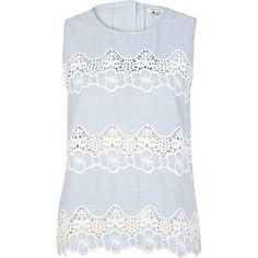 Blue stripe lace insert shell top - sleeveless tops - tops - women