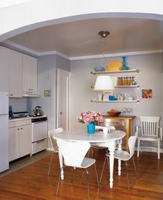 """""""Easy-to-install Ikea wall shelves are the quickest fix for any space that's short on storage,"""" says stylist Lance Boyd. Double-click for more kitchen clutter shortcuts"""