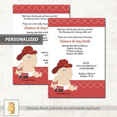 Baby Fireman Firefighter Baby Shower by ArtbyJessPrintables